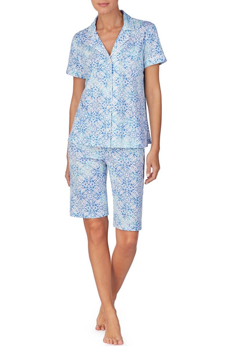 LAUREN RALPH LAUREN Bermuda Short Pajamas, Main, color, TURQUOISE PRINT