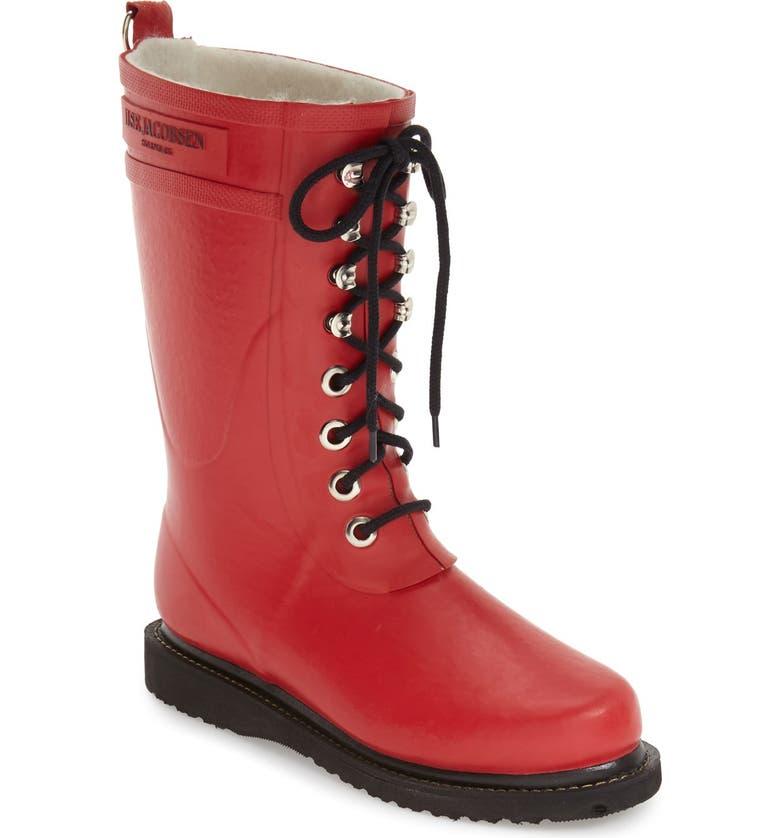 ILSE JACOBSEN Rubber Waterproof Boot, Main, color, DEEP RED