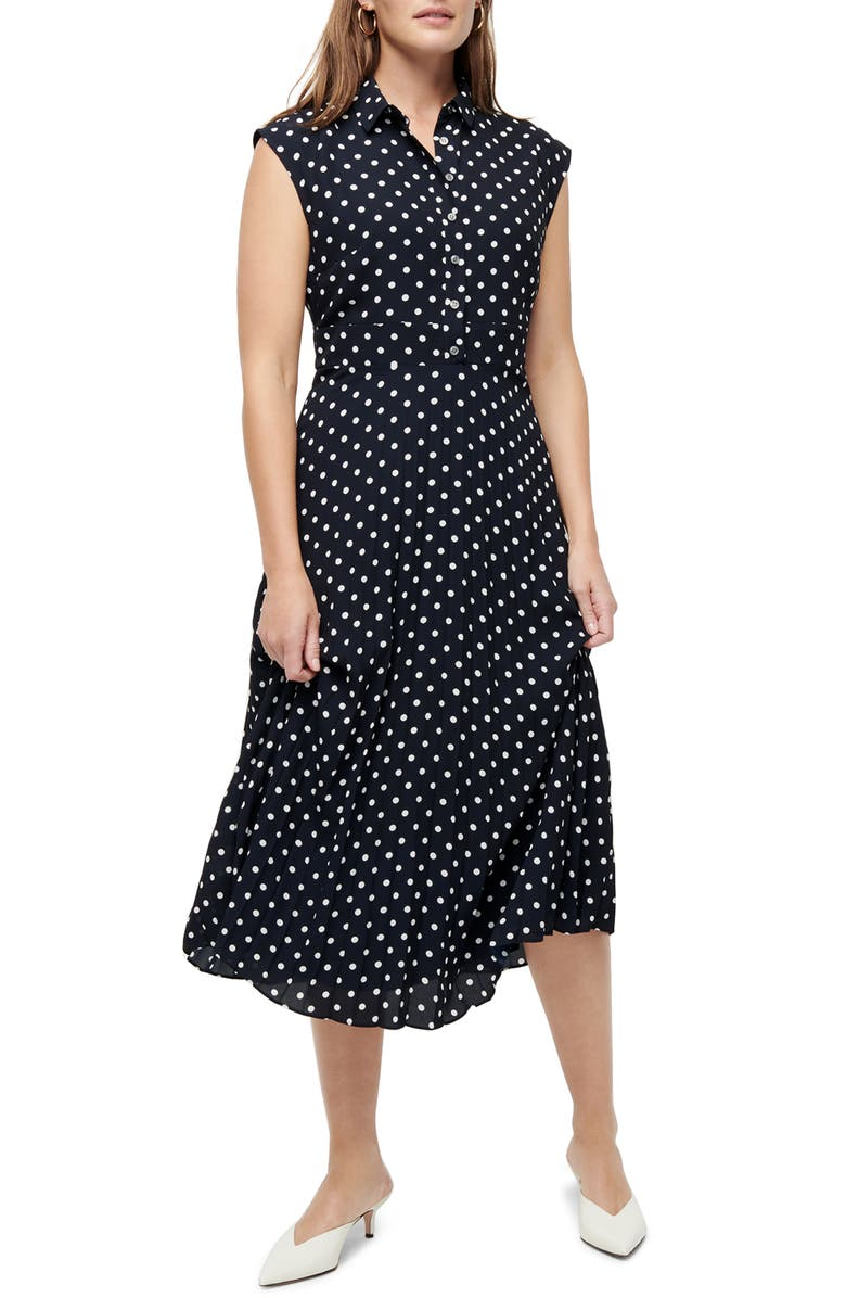 J.CREW Dot Print Pleated Midi Shirtdress, Main, color, NAVY IVORY