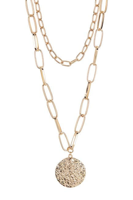 Image of Panacea Gold-Tone Two Row Chain Hammered Disc Pendant Necklace