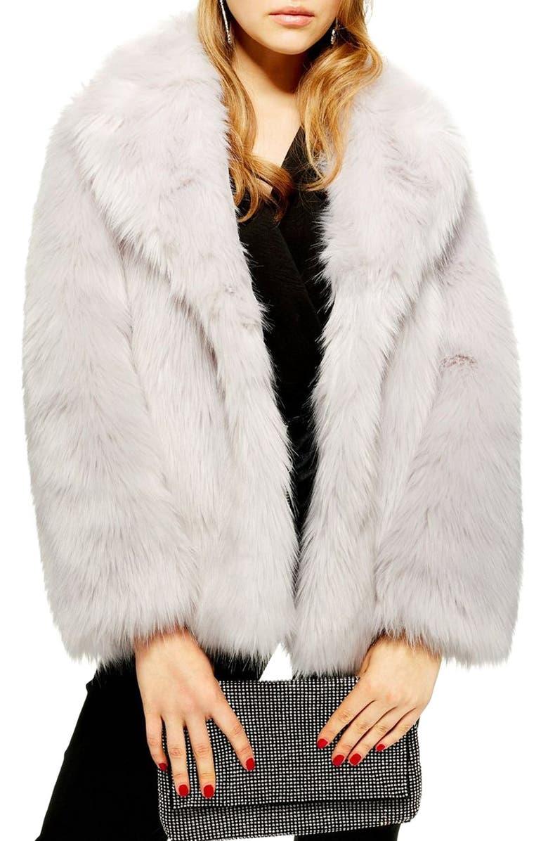 TOPSHOP Camille Faux Fur Coat, Main, color, 050
