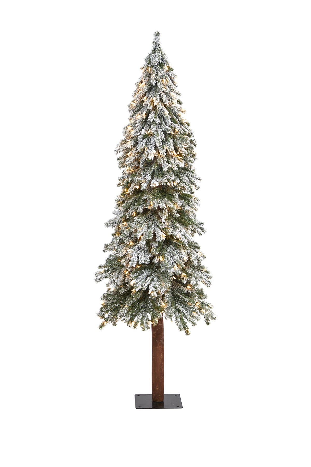 Image of NEARLY NATURAL 6ft. Flocked Grand Alpine Artificial Christmas Tree with 300 Clear Lights on Natural Trunk