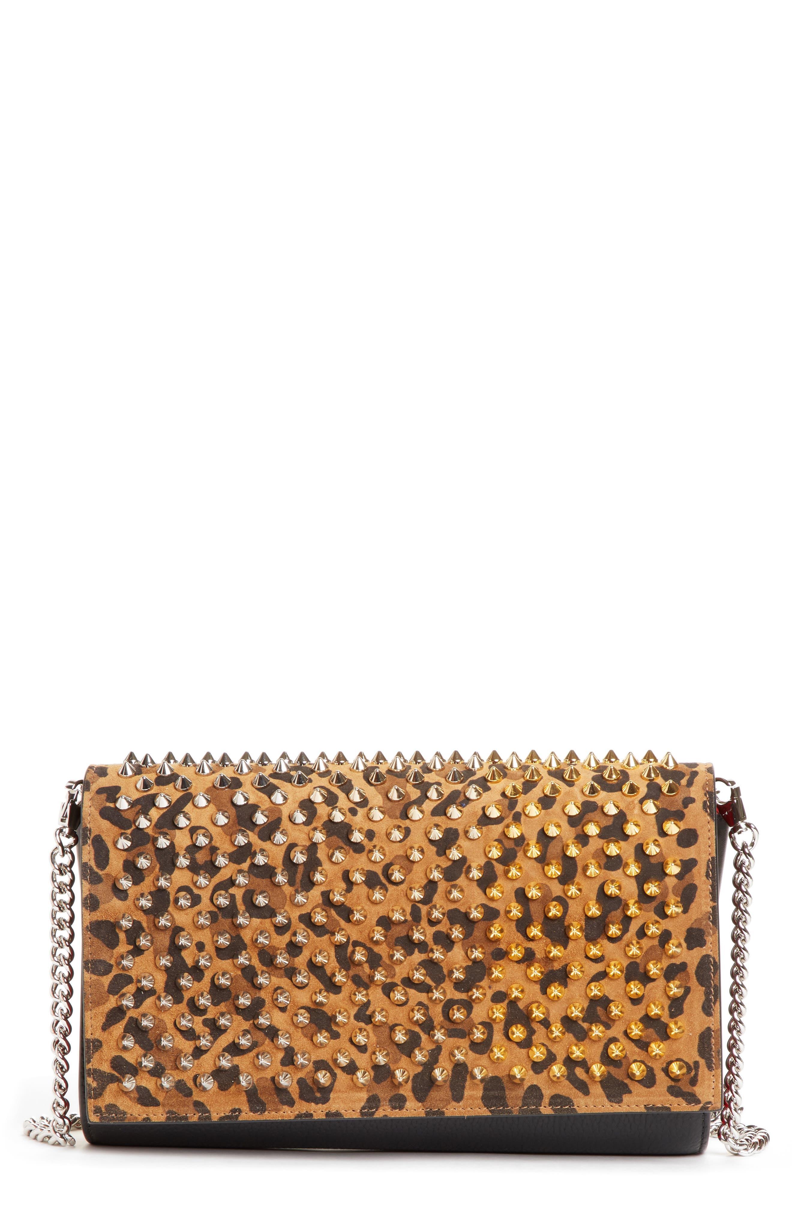 e974efc54b Christian Louboutin Paloma Studded Calfskin Leather Clutch - Brown