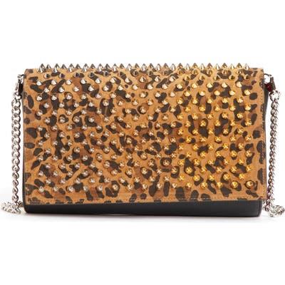 Christian Louboutin Paloma Studded Calfskin Leather Clutch - Brown