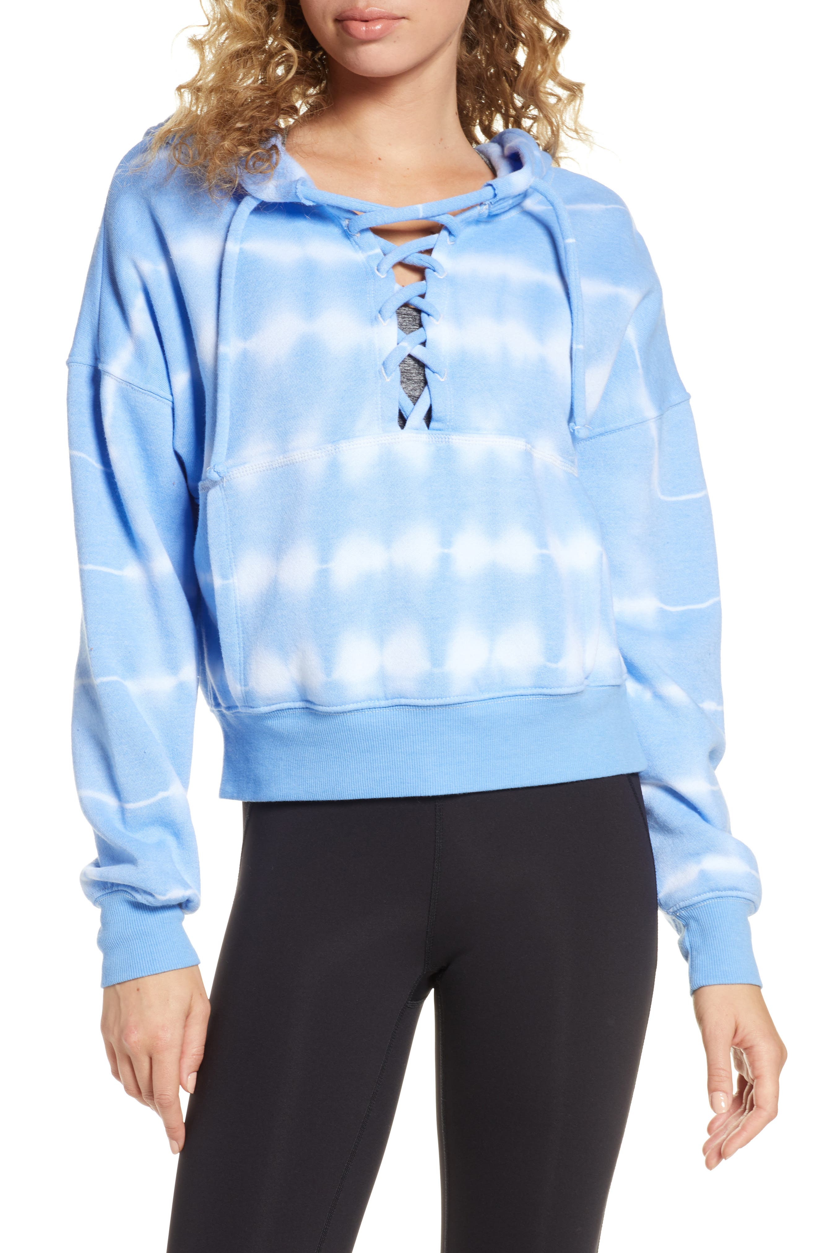 Free People Movement Tie Dye Believer Lace-Up Hoodie, Blue