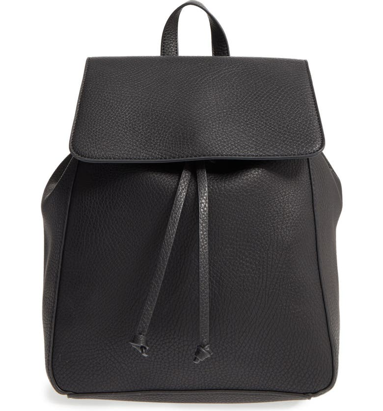 SOLE SOCIETY 'Iver' Faux Leather Drawstring Backpack, Main, color, 001