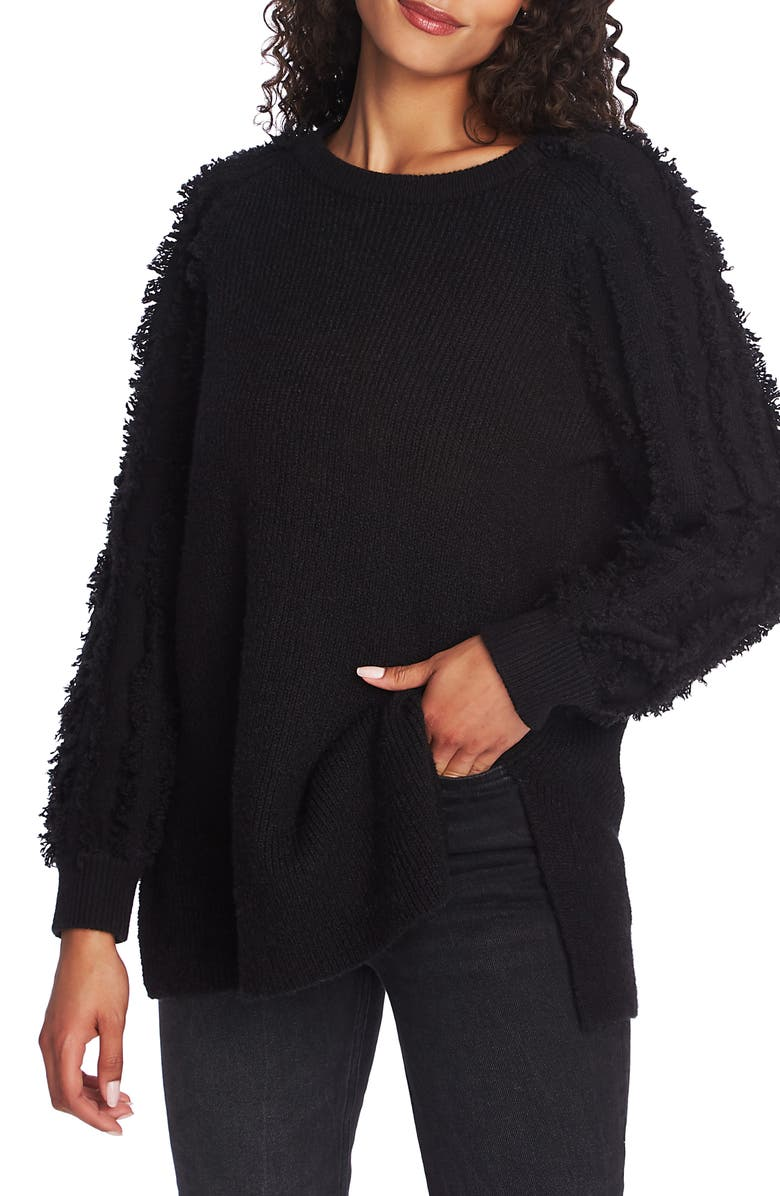 1.STATE Fringe Sleeve Tunic, Main, color, RICH BLACK