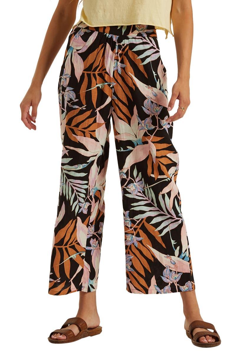 BILLABONG Cut It Wide Leg Crop Pants, Main, color, OFF BLACK