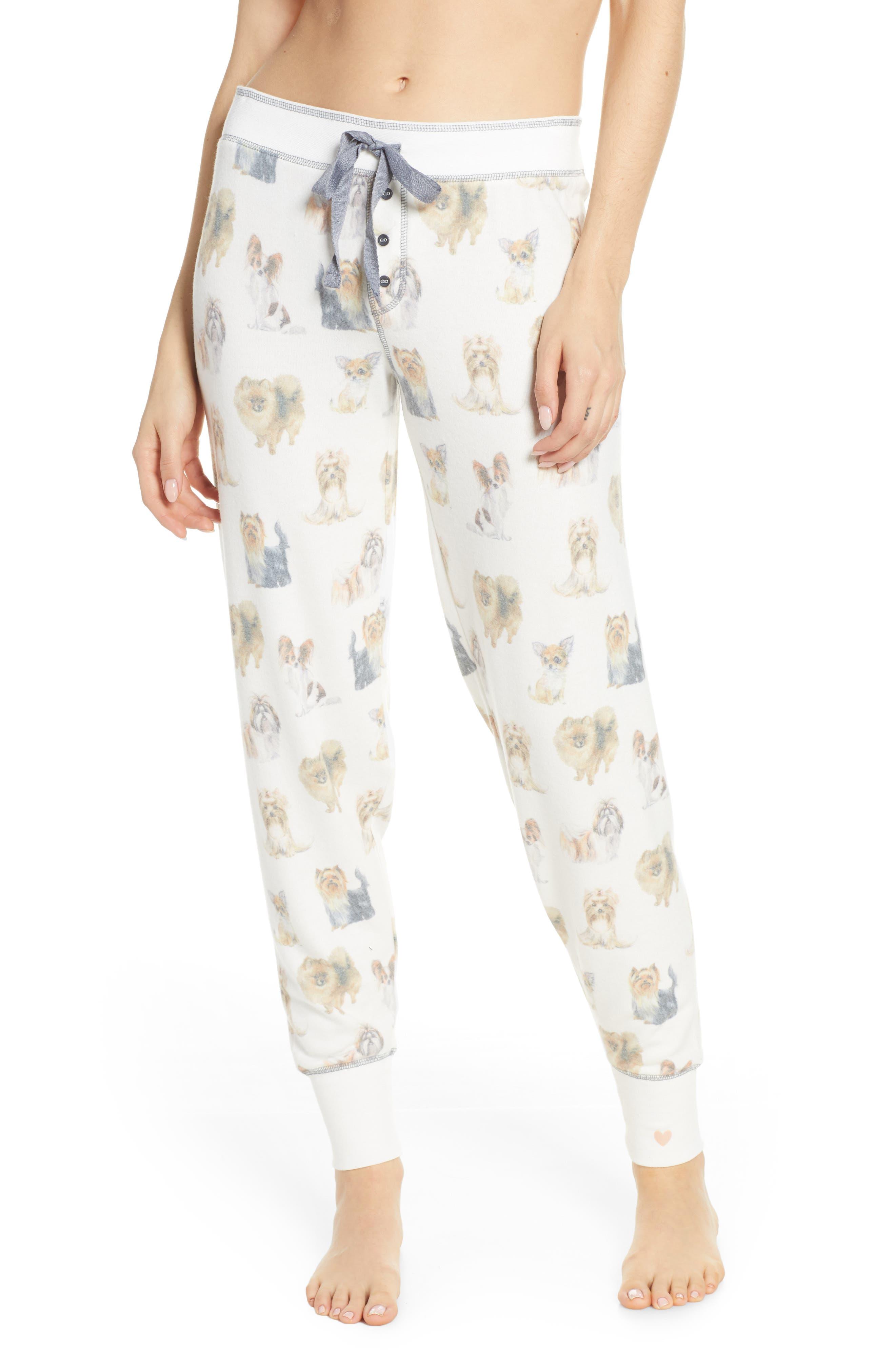 Plus Size Pj Salvage Dog Print Pajama Pants, Ivory