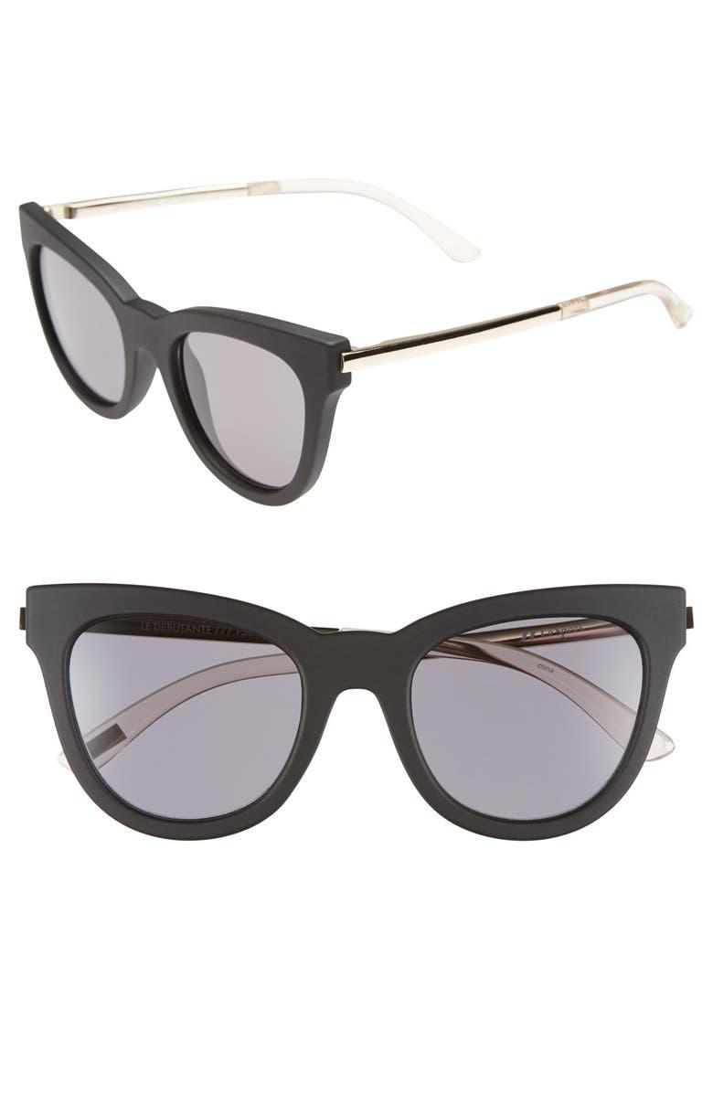 LE SPECS 'Le Debutante' 51mm Cat Eye Sunglasses, Main, color, 001