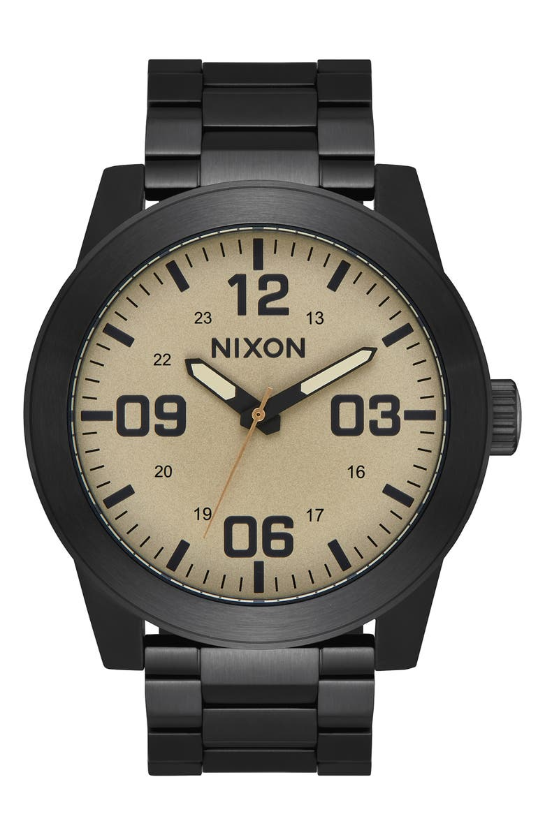 NIXON The Corporal Bracelet Watch, 48mm, Main, color, BLACK/ KHAKI/ BLACK