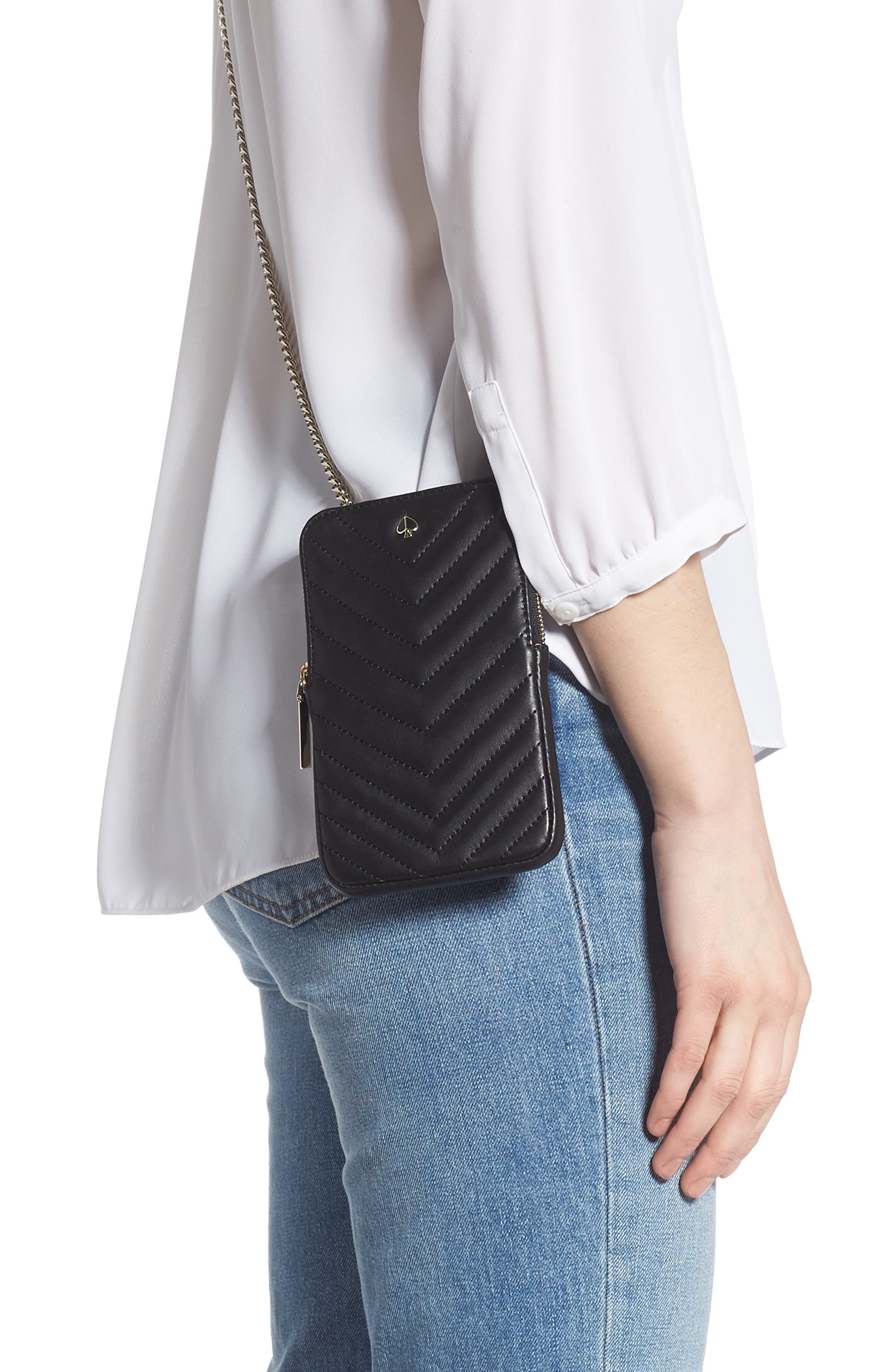 ,                             amelia quilted leather phone crossbody bag,                             Alternate thumbnail 2, color,                             BLACK