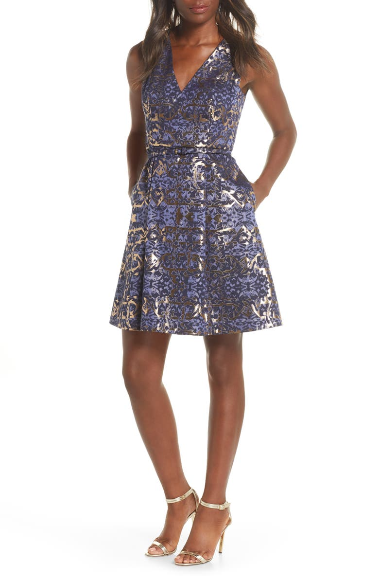 VINCE CAMUTO Metallic Jacquard Sleeveless Fit & Flare Dress, Main, color, NAVY/ MULTI