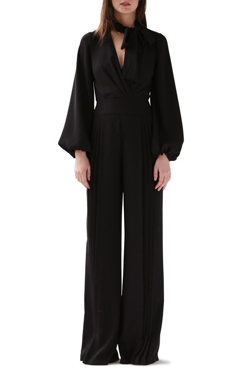 ML MONIQUE LHUILLIER Long Sleeve Pleated Wide Leg Jumpsuit, Main, color, 001