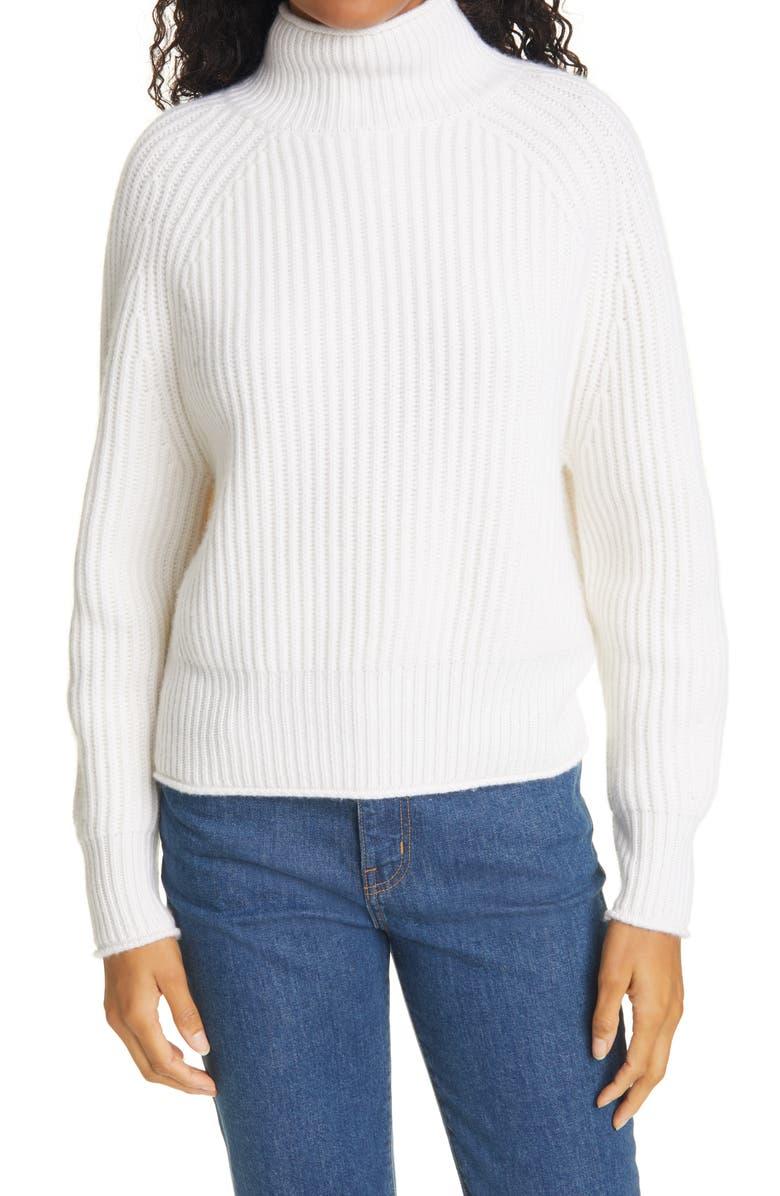 ALLUDE Mock Neck Cashmere Sweater, Main, color, 40 FLEUR DE SEL OFF WHITE