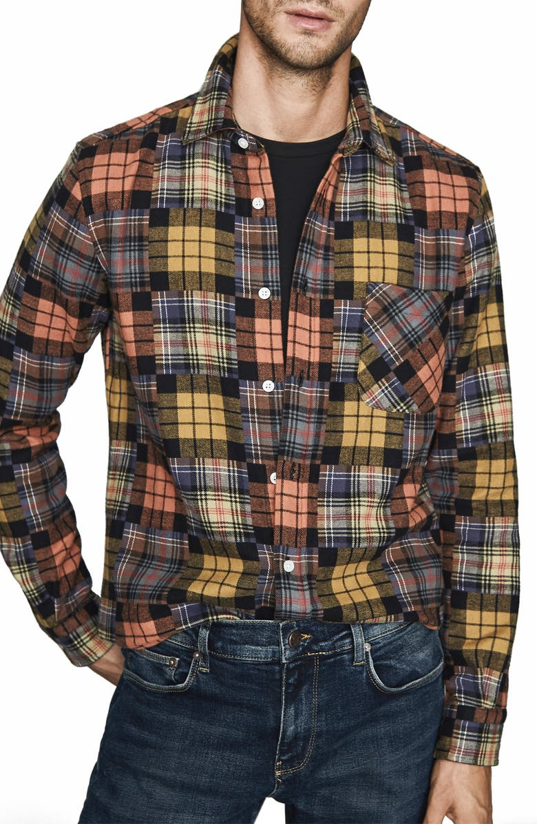 REISS Renoire Slim Fit Plaid Patchwork Button-Up Flannel Shirt, Main, color, BURNT ORANGE