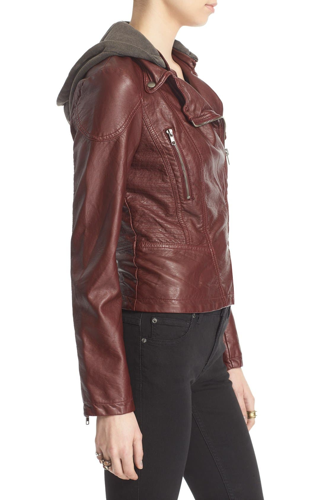 ,                             Hooded Faux Leather Moto Jacket,                             Alternate thumbnail 6, color,                             600