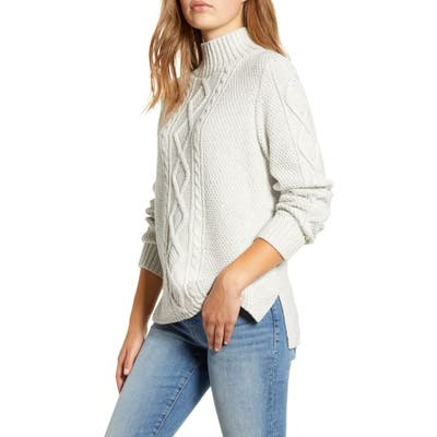 Lucky Brand Cable Knit Turtleneck Cotton & Wool Blend Sweater, Grey