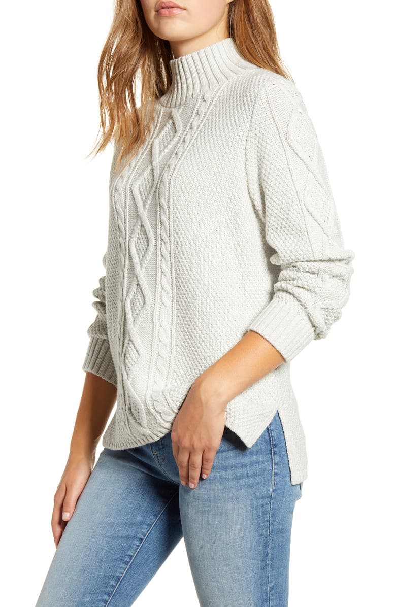 LUCKY BRAND Cable Knit Turtleneck Cotton & Wool Blend Sweater, Main, color, 060