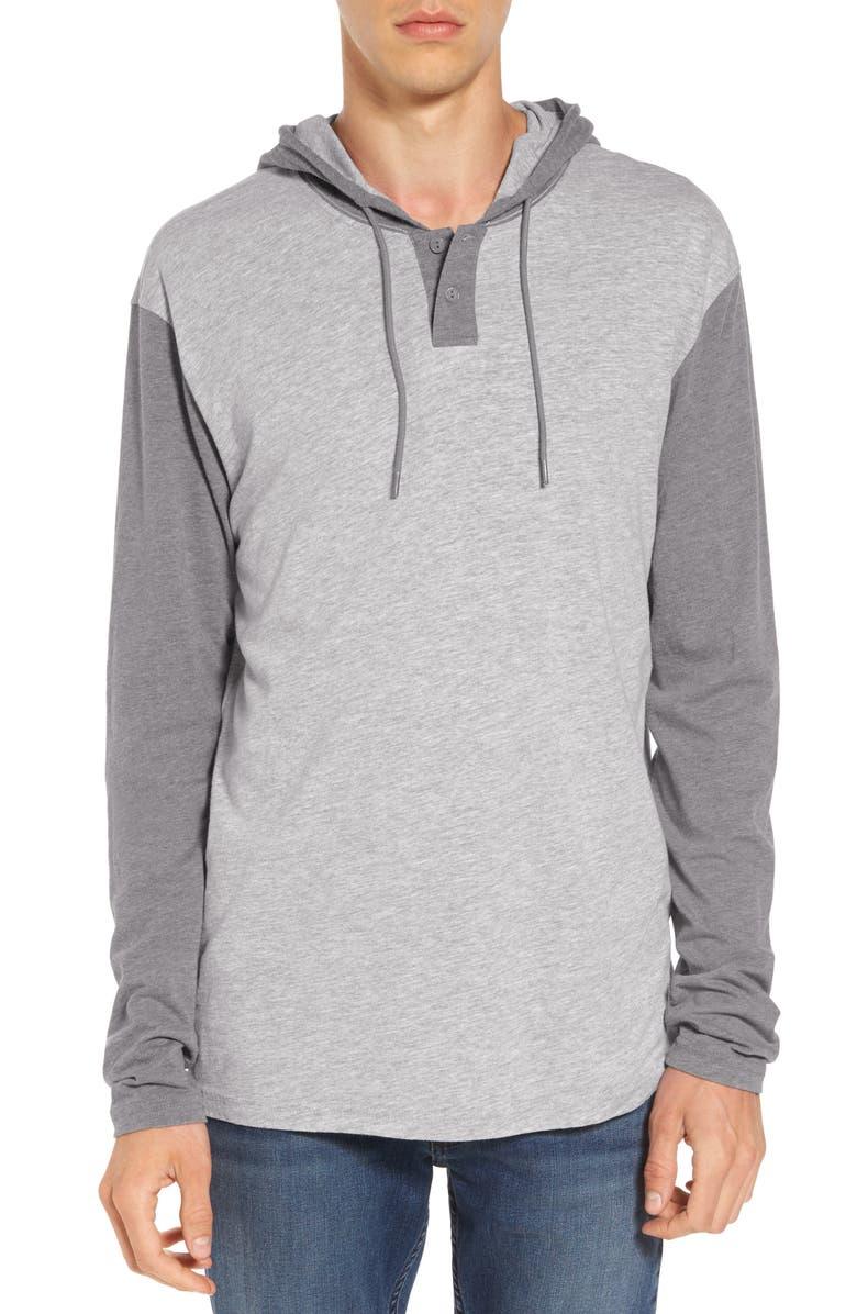 RVCA Pick Up Hooded Henley Sweatshirt, Main, color, 021