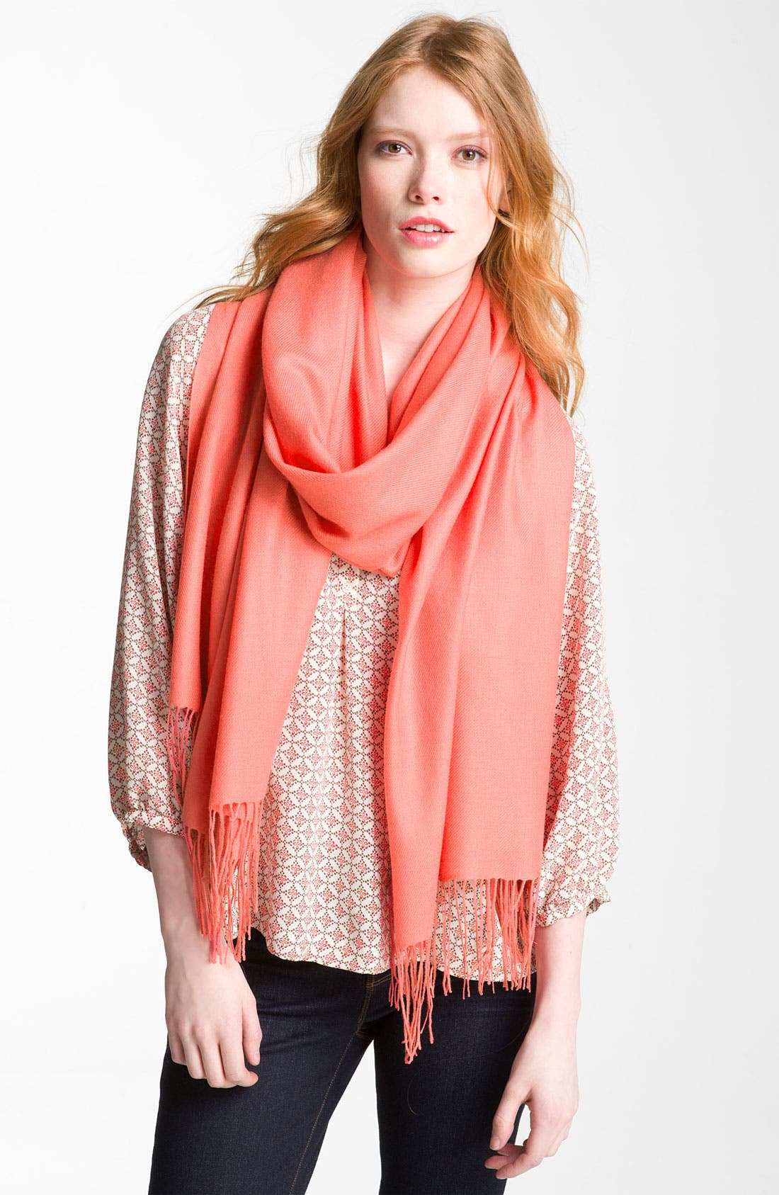 ,                             Tissue Weight Wool & Cashmere Wrap,                             Main thumbnail 218, color,                             951
