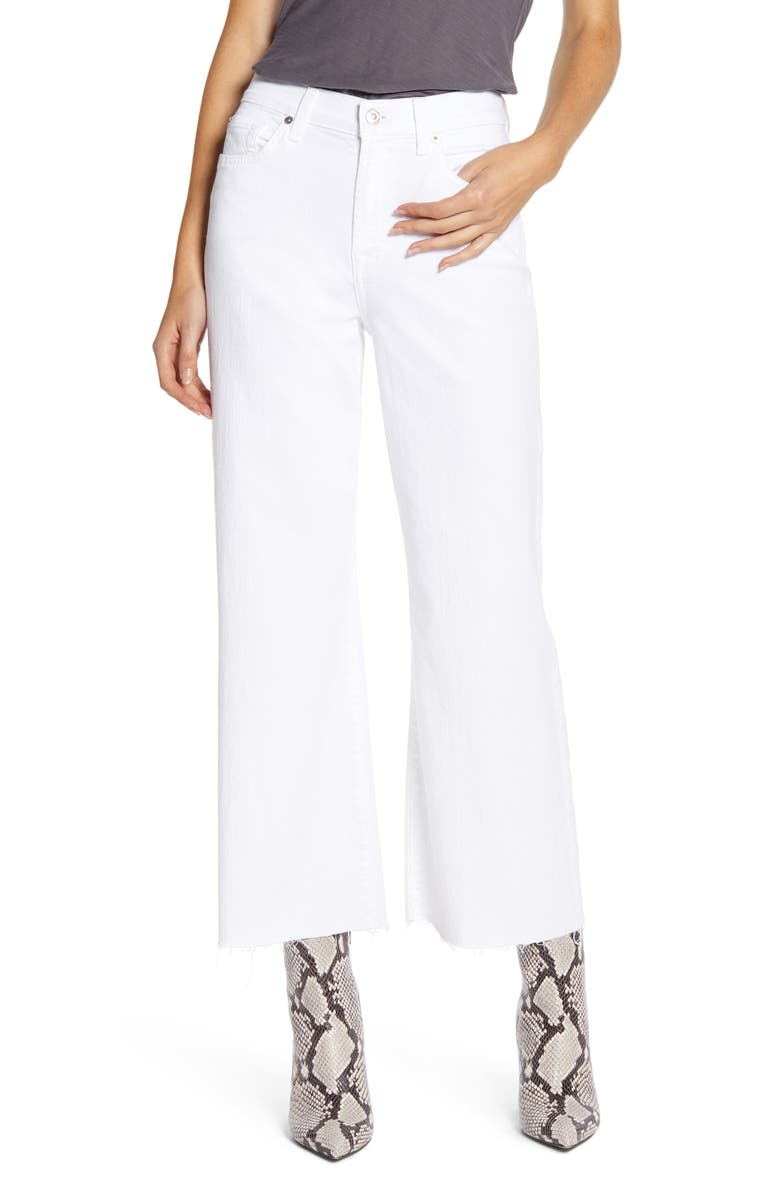 7 FOR ALL MANKIND<SUP>®</SUP> Alexa High Waist Raw Hem Crop Wide Leg Jeans, Main, color, WHITE RUNWAY