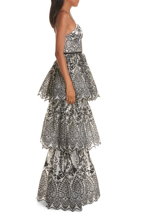cbcd404d Marchesa Notte Tiered Eyelet Evening Dress   Nordstrom