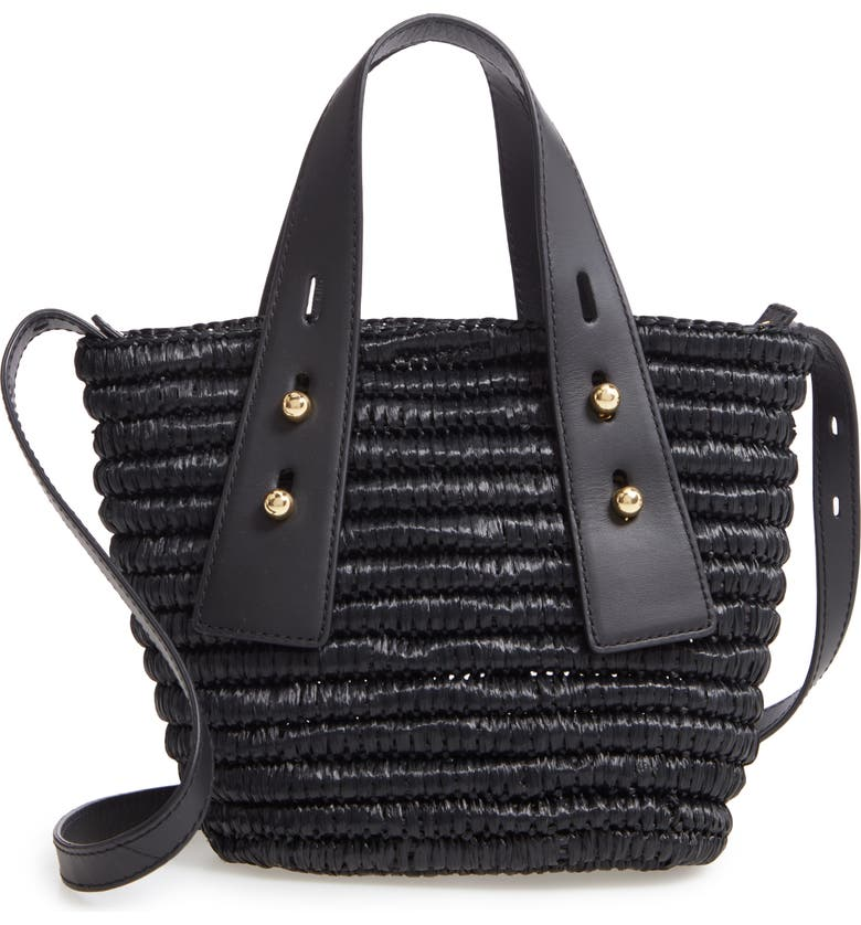 FRAME Les Second Mini Raffia & Leather Crossbody Bag, Main, color, NOIR