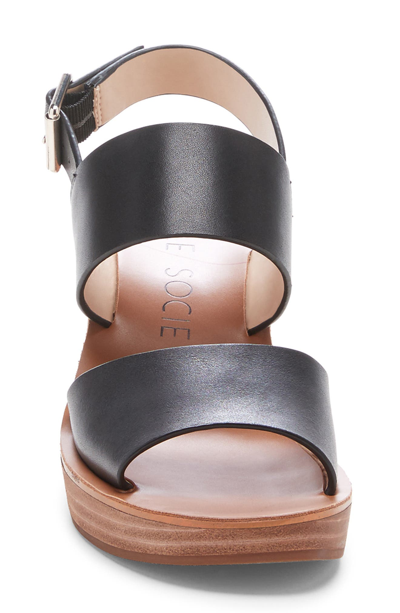,                             Pavlina Platform Wedge Sandal,                             Alternate thumbnail 4, color,                             BLACK LEATHER