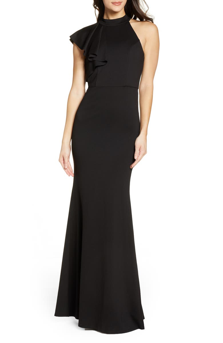 LULUS Margaux One Shoulder Maxi Dress, Main, color, BLACK