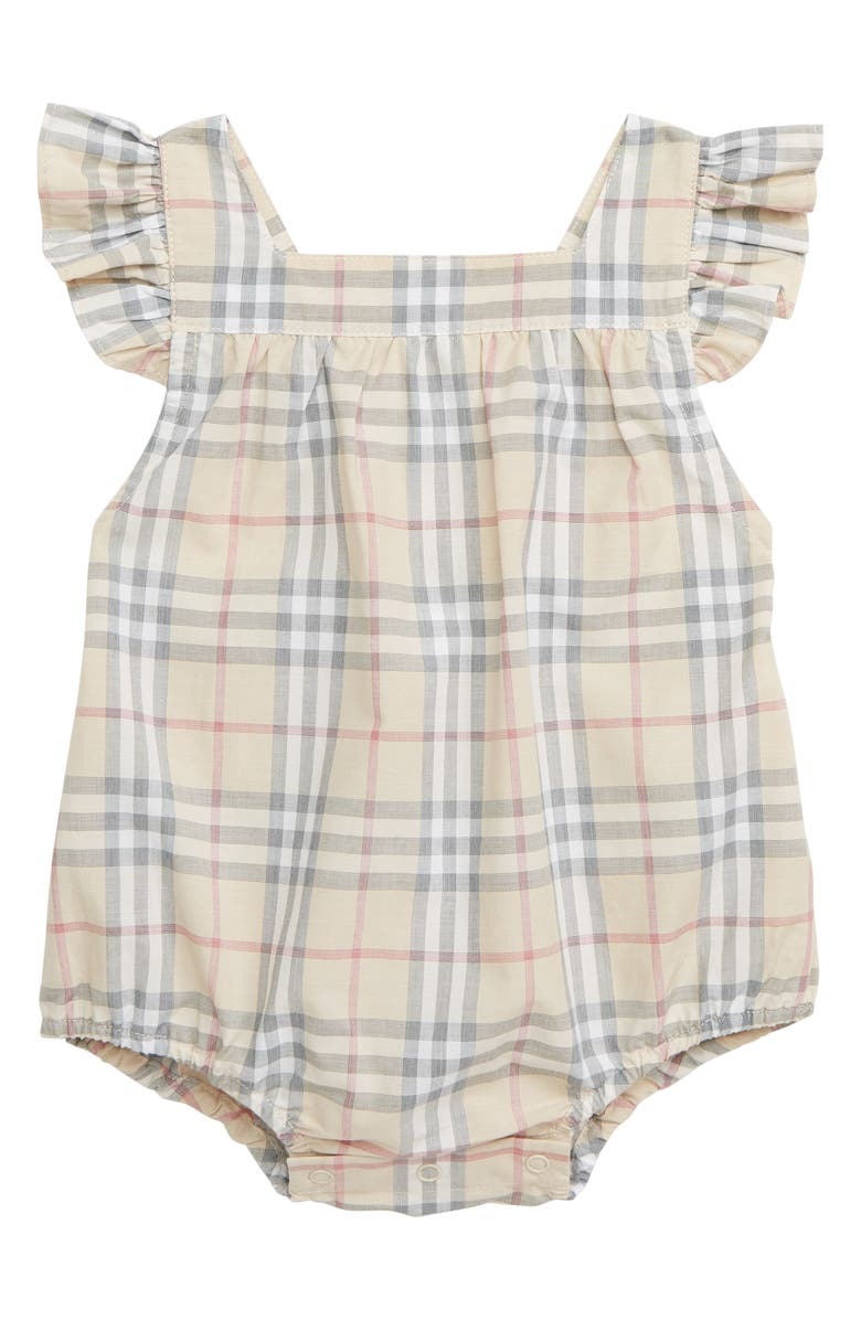 BURBERRY Ruffle Apron Back Bodysuit, Main, color, PALE STONE IP CHECK