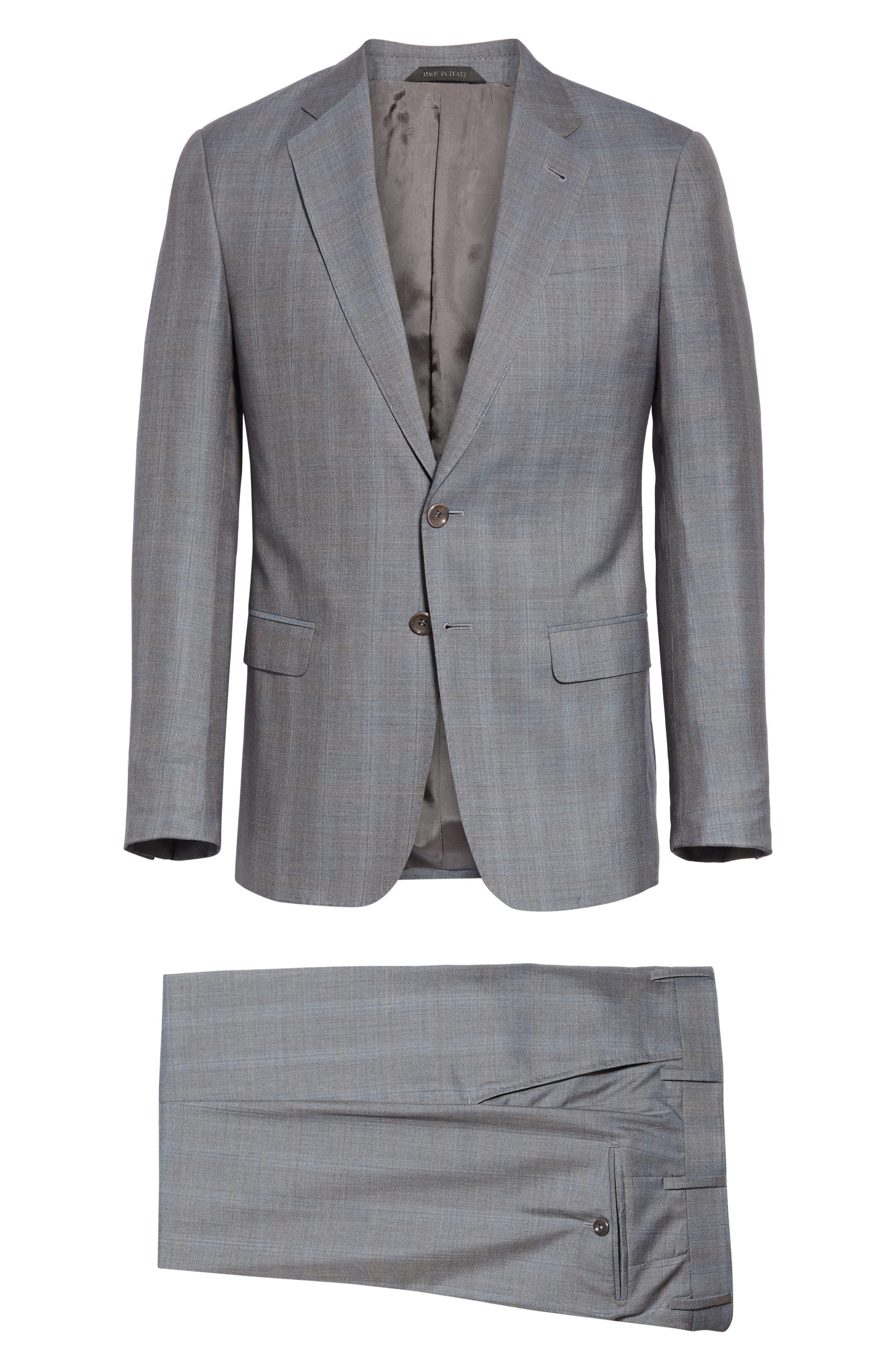 ,                             Classic Fit Plaid Wool & Silk Suit,                             Alternate thumbnail 8, color,                             GREY