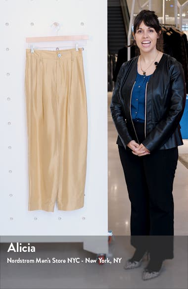Pleated Silk Crop Trousers, sales video thumbnail