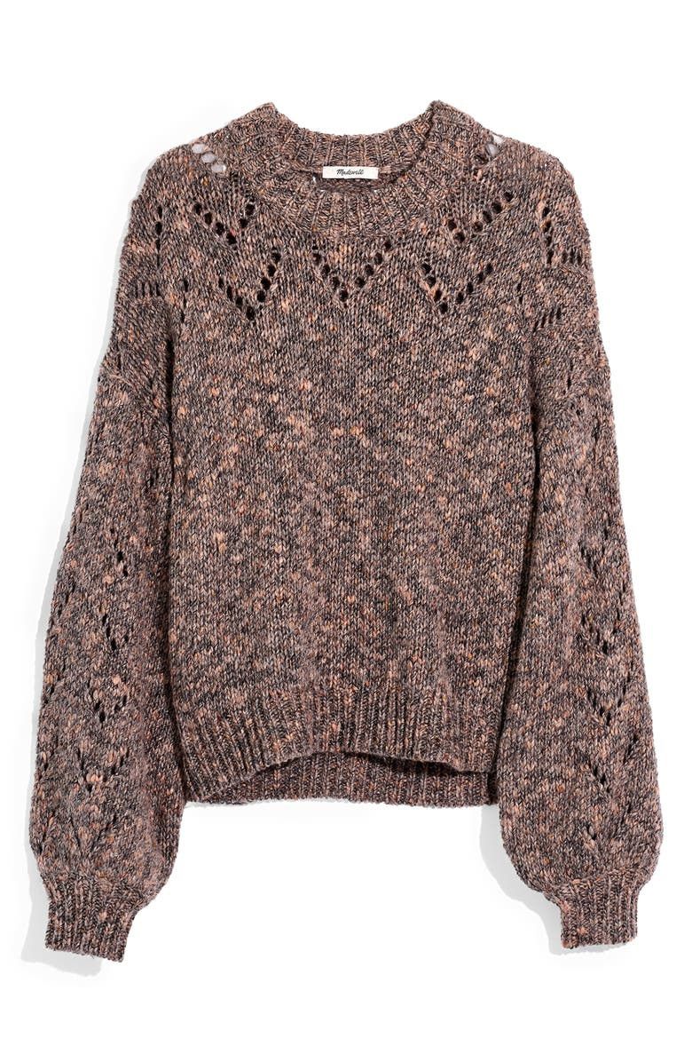 MADEWELL Pointelle Bubble Sleeve Pullover Sweater, Main, color, 020
