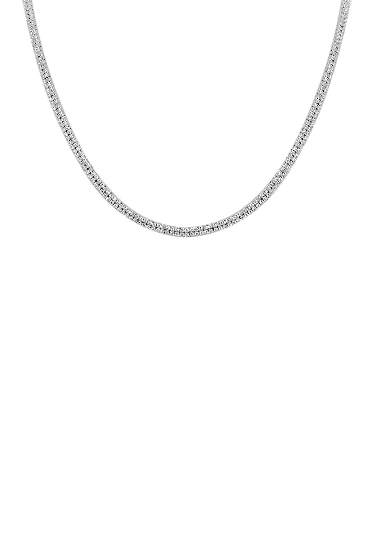 Image of Savvy Cie Sterling Silver Double Row Pave CZ Choker Necklace