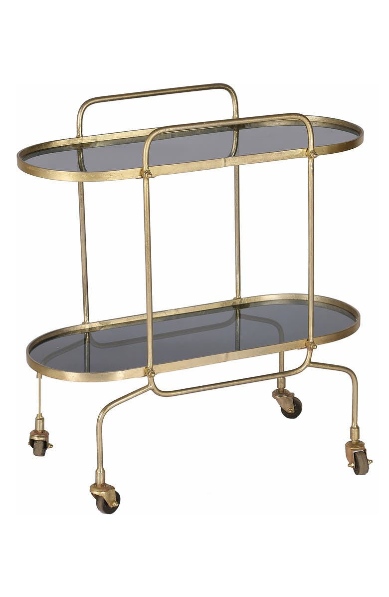 RENWIL Caboto Bar Cart, Main, color, SMOKY GLASS ANTIQUE BRASS