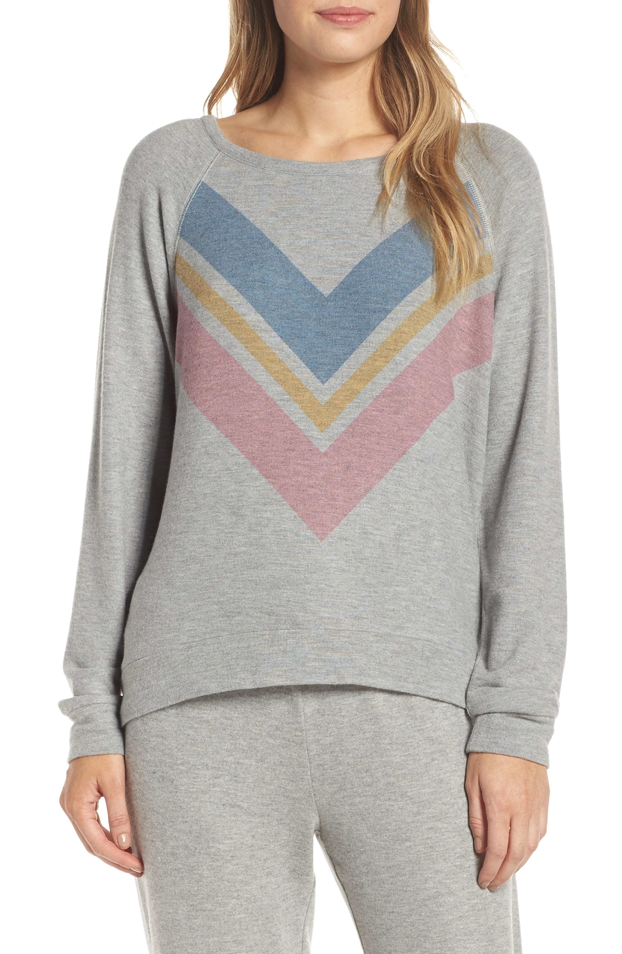 Pj Salvage Lounge Essentials Chevron Pullover, Grey