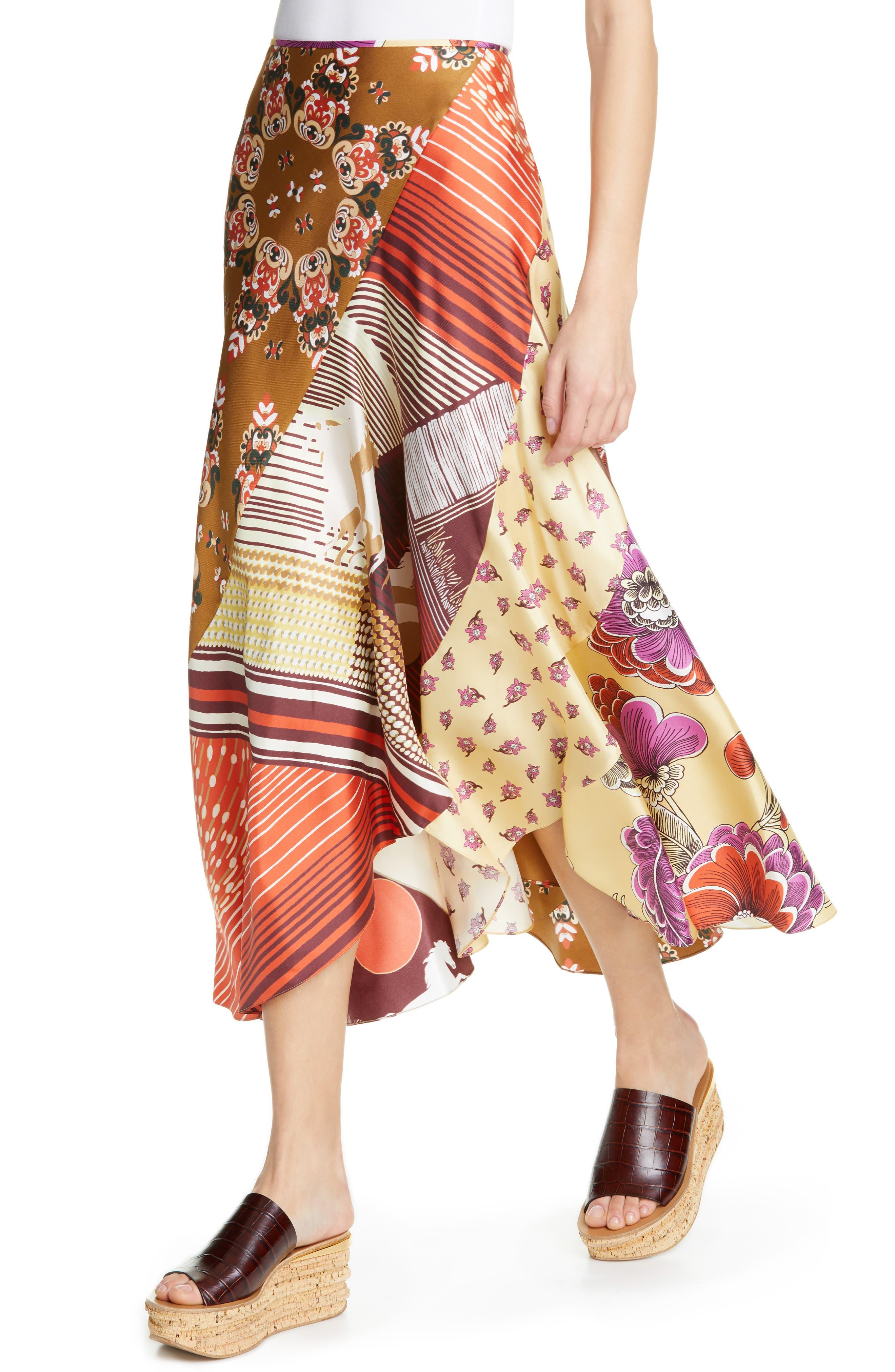 ,                             Mixed Print Bias Cut Silk Skirt,                             Alternate thumbnail 4, color,                             3ZA-MULTICOLOR GREEN 1