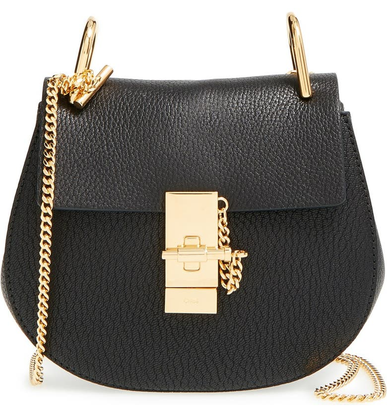 CHLOÉ 'Mini Drew' Leather Shoulder Bag, Main, color, 001