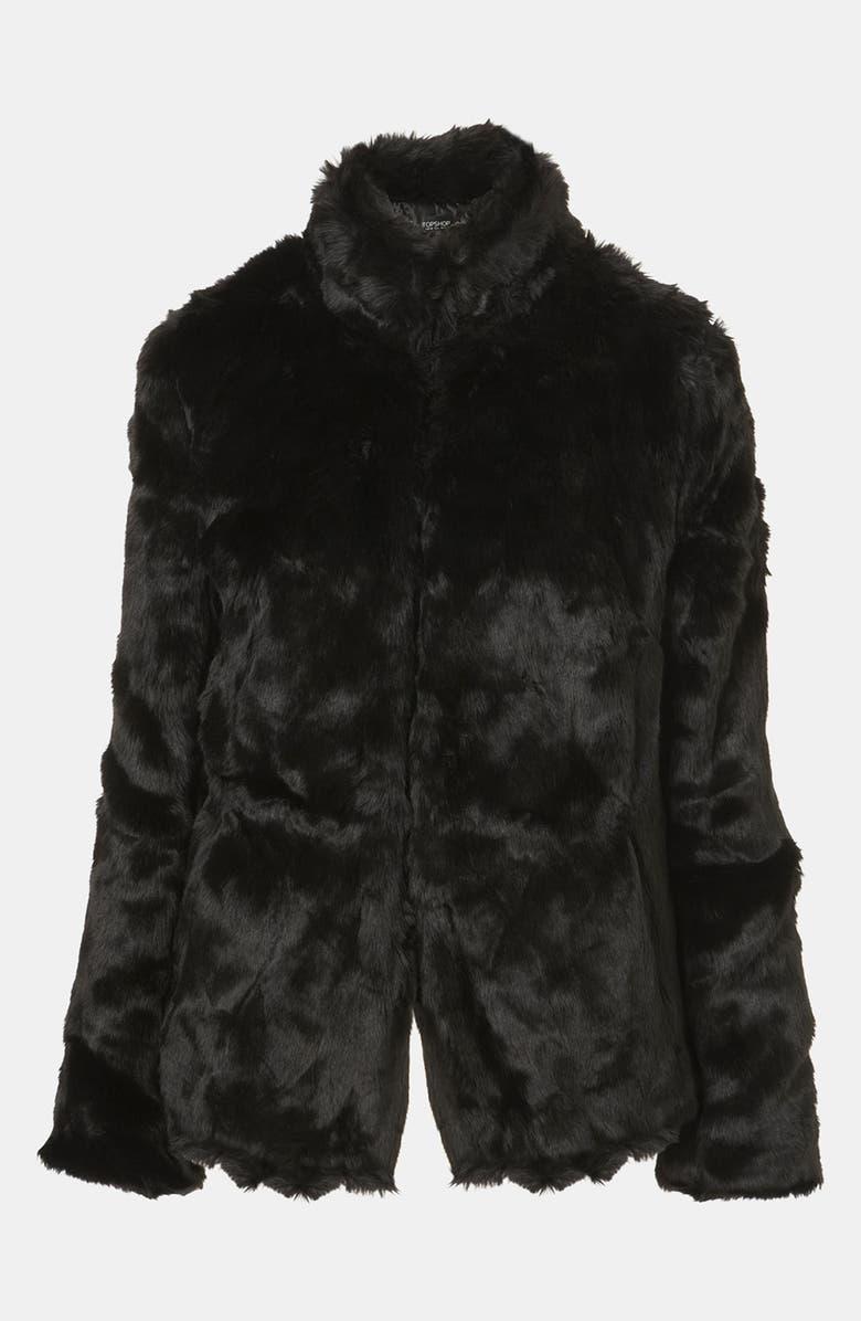 TOPSHOP Faux Fur Jacket, Main, color, 001