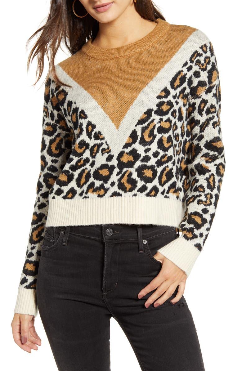 VERO MODA Leon Colorblock Leopard Jacquard Sweater, Main, color, PRISTINE