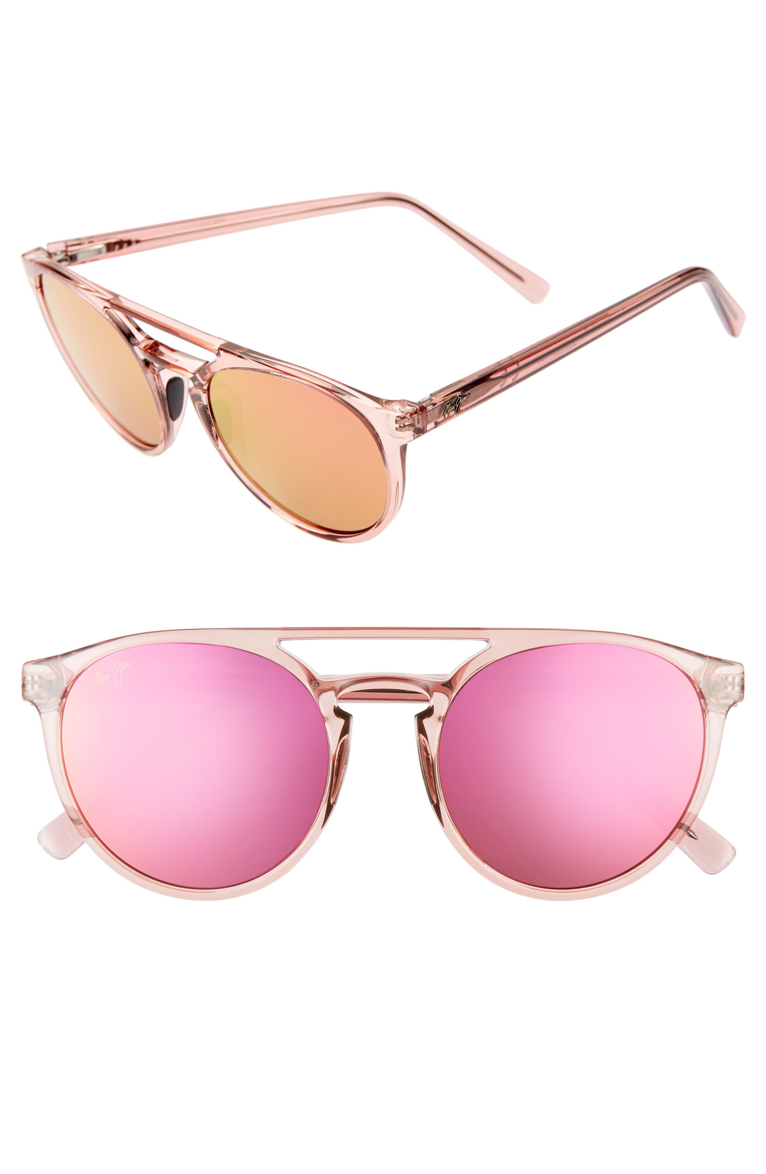 Maui Jim Ah Dang! 52Mm Polarizedplus2 Flat Top Sunglasses - Transparent Pink/ Maui Sunrise