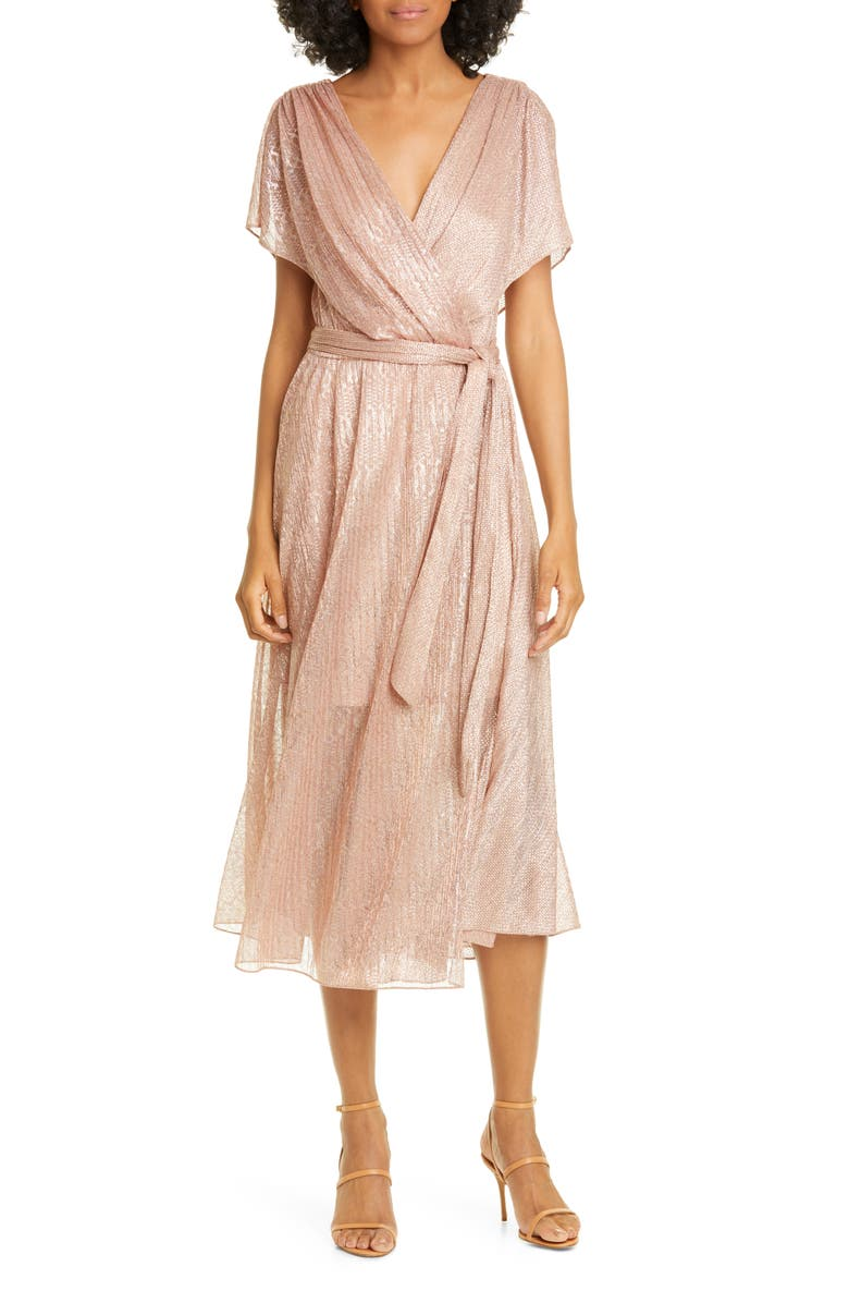 Alice Olivia Darva Faux Wrap Midi Dress