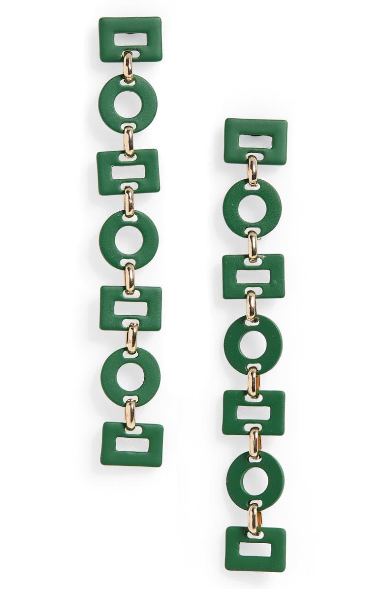 BP. Mixed Geo Linear Drop Earrings, Main, color, GREEN- GOLD