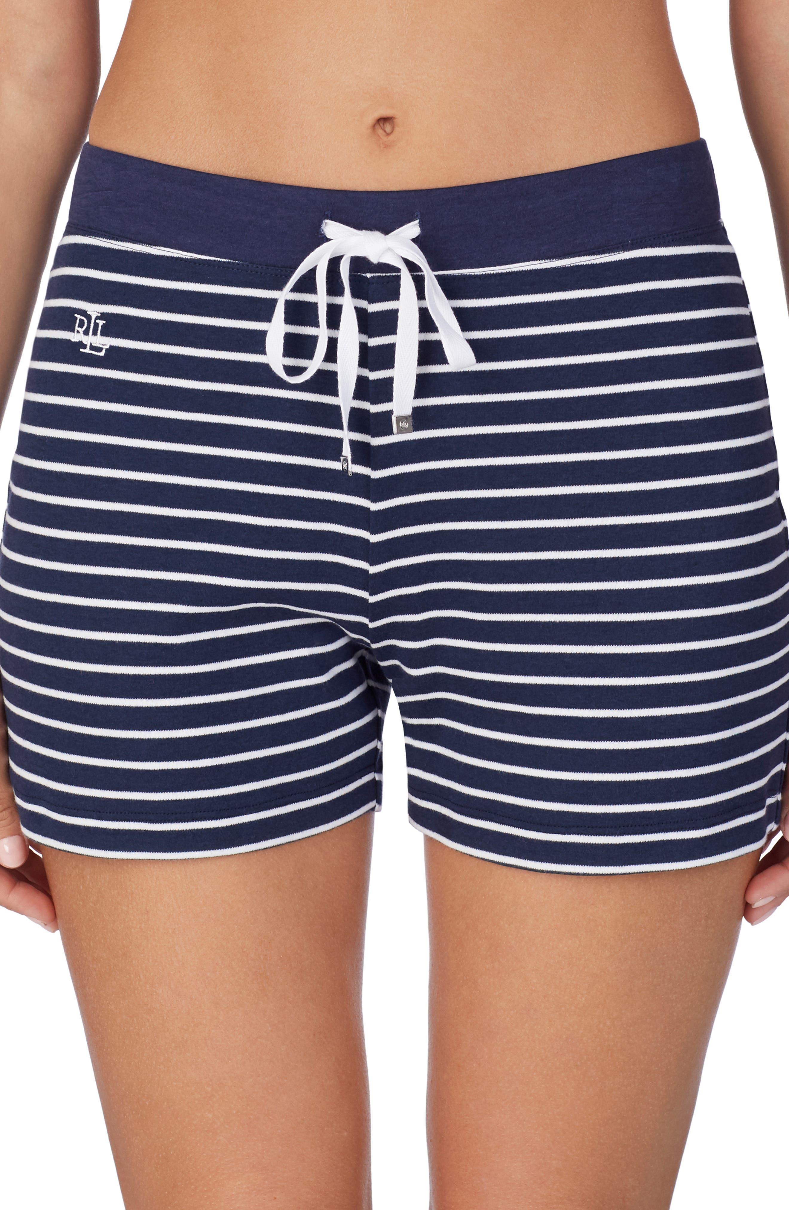 Lauren Ralph Lauren Stripe Boxer Pajama Shorts, Blue