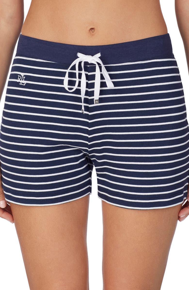 LAUREN RALPH LAUREN Stripe Boxer Pajama Shorts, Main, color, 400