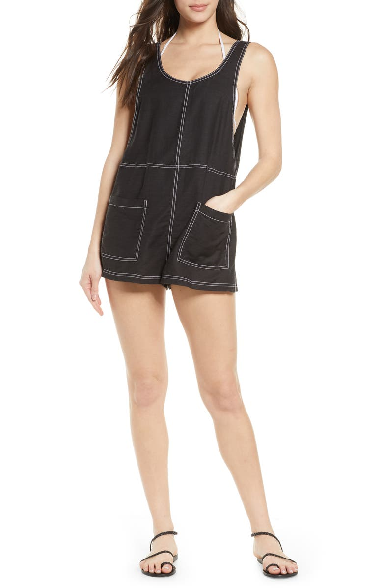 DOLCE VITA Denim Style Romper Cover-Up, Main, color, BLACK