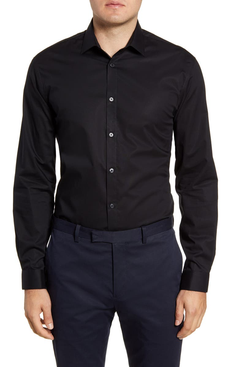 JOHN VARVATOS STAR USA Slim Fit Solid Dress Shirt, Main, color, BLACK