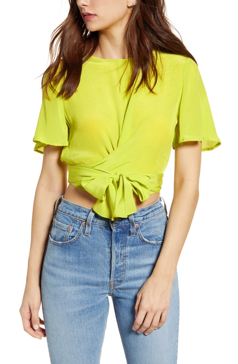 J.O.A. Flutter Sleeve Crop Top, Main, color, BREEZY LIME