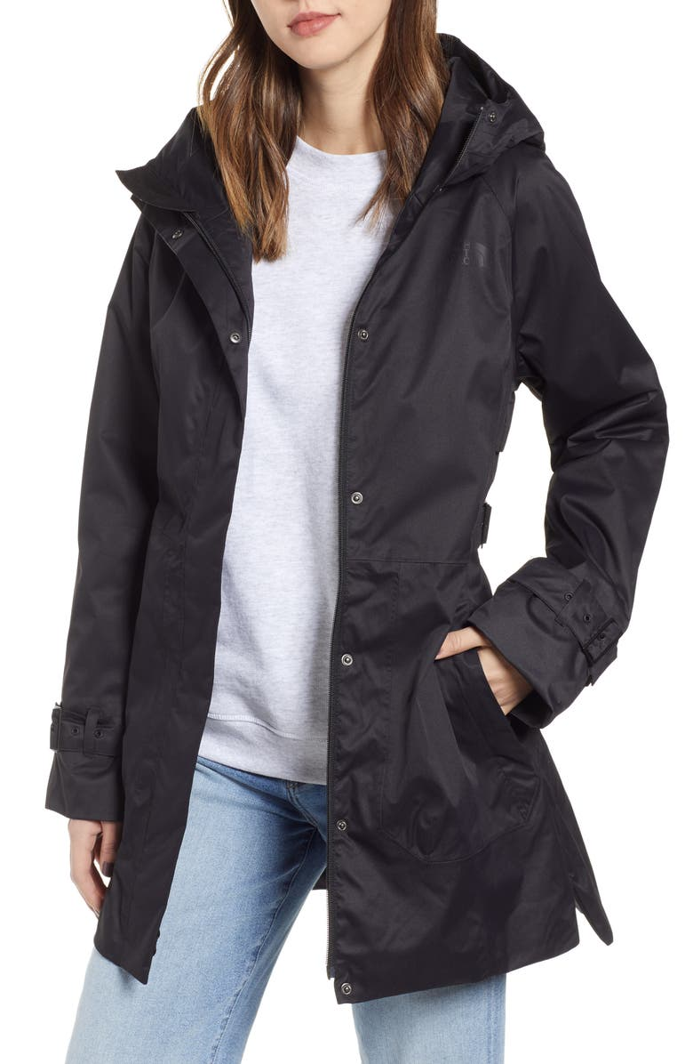 THE NORTH FACE City Breeze Waterproof Trench Raincoat, Main, color, TNF BLACK